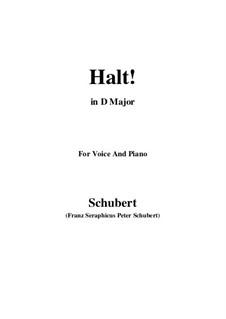 Nr.3 Halt: Für Stimme und Klavier (D Major) by Franz Schubert