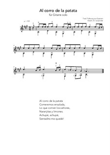 Al corro de la patata: For guitar solo (A Major) by folklore