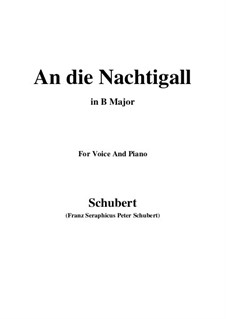 An die Nachtigall, D.497 Op.98 No.1: For voice and piano (B Major) by Franz Schubert