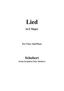 Lied für Stimme und Klavier, D.284: E Major by Franz Schubert