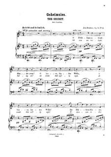 Fünf Lieder, Op.71: Nr.3 Geheimniss (deutsche und englische Texte) by Johannes Brahms