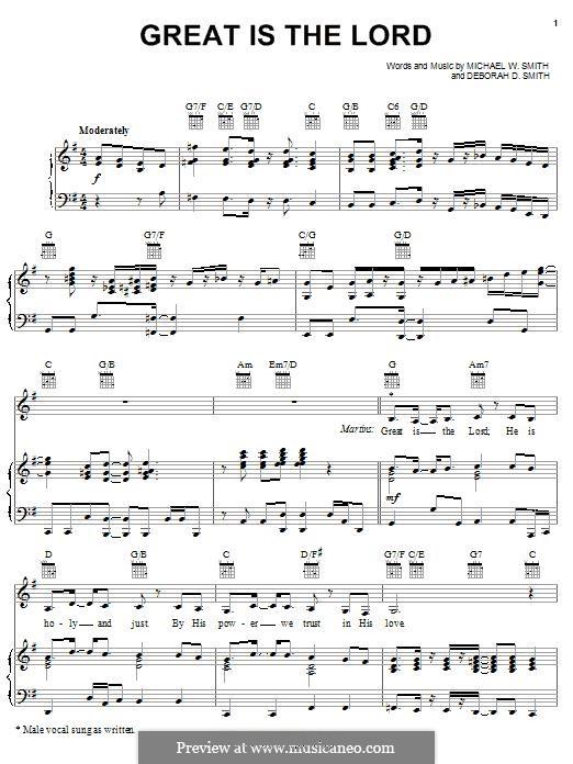 Great Is the Lord: Für Stimme und Klavier (oder Gitarre) by Michael W. Smith