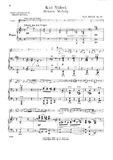 Kol Nidre, Op.47: Version für Violine und Klavier by Max Bruch