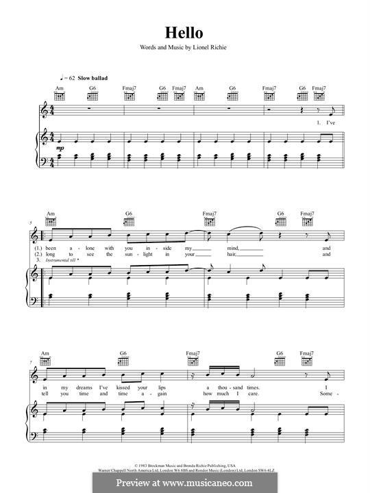 Hello: Für Stimme und Klavier (oder Gitarre) by Lionel Richie