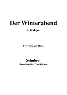 Der Winterabend, D.938: B Major by Franz Schubert