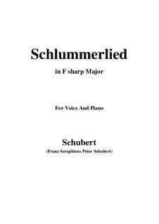 Schlaflied (Schlummerlied), D.527 Op.24 No.2: For voice and piano (F sharp Major) by Franz Schubert