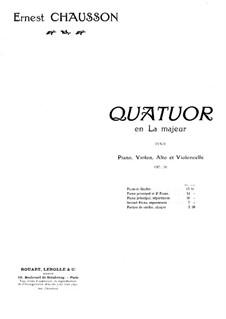 Klavierquartett in A-Dur, Op.30: Bearbeitung für Klavier by Ernest Chausson