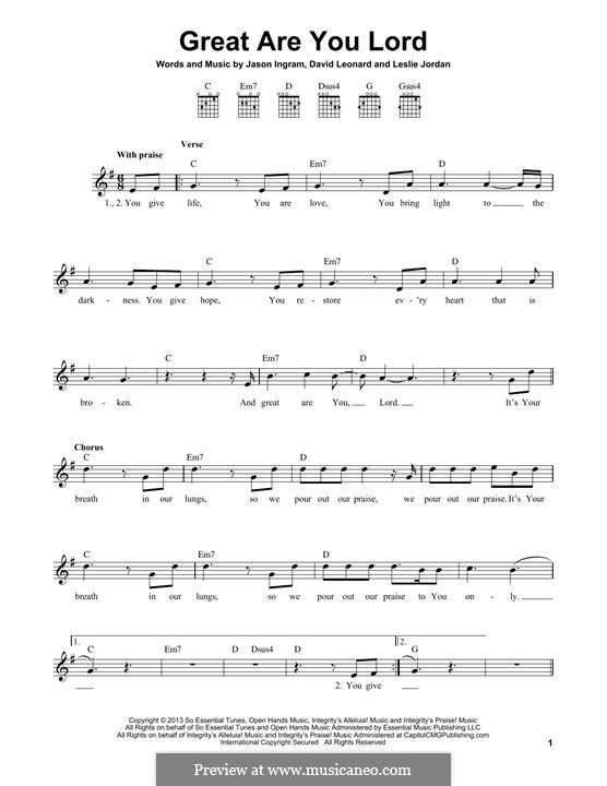 Great are You Lord: Für Gitarre by Jason David Ingram, Leslie Jordan, David Leonard