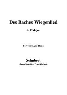 Nr.20 Des Baches Wiegenlied: Für Stimme und Klavier (E Major) by Franz Schubert