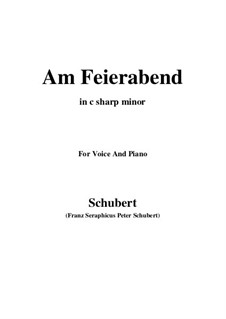 Nr.5 Am Feierabend: For voice and piano (c sharp minor) by Franz Schubert