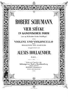 Studien in kanonischer Form, Op.56: Nr.6, 4, 2, 5, für Klaviertrio – Cellostimme by Robert Schumann