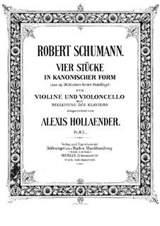 Studien in kanonischer Form, Op.56: Nr.6, 4, 2, 5, für Klaviertrio by Robert Schumann