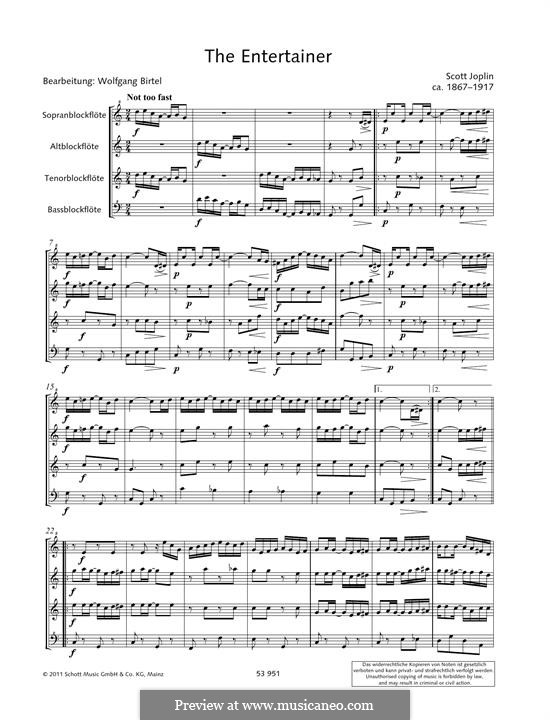 The Entertainer: For recorders by Scott Joplin