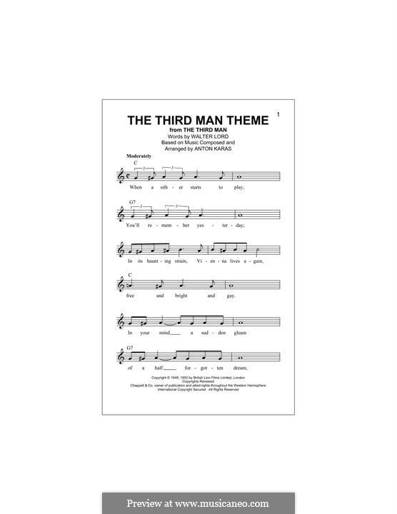 The Third Man (The Harry Lime Theme): Melodische Linie by Anton Karas
