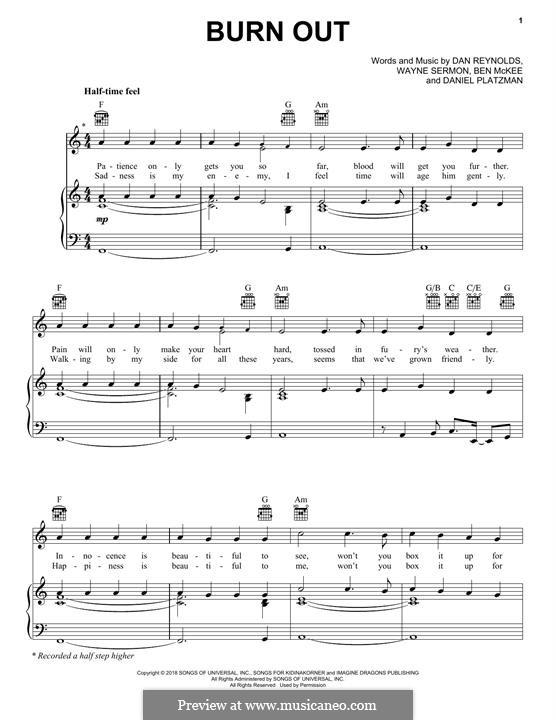Burn Out (Imagine Dragons): Für Stimme und Klavier (oder Gitarre) by Benjamin McKee, Daniel Reynolds, Daniel Platzman, Wayne Sermon