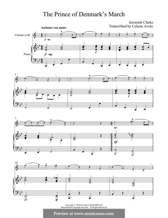 Prince of Denmark's March (Trumpet Voluntary), printable scores: Für Klarinette und Klavier by Jeremiah Clarke