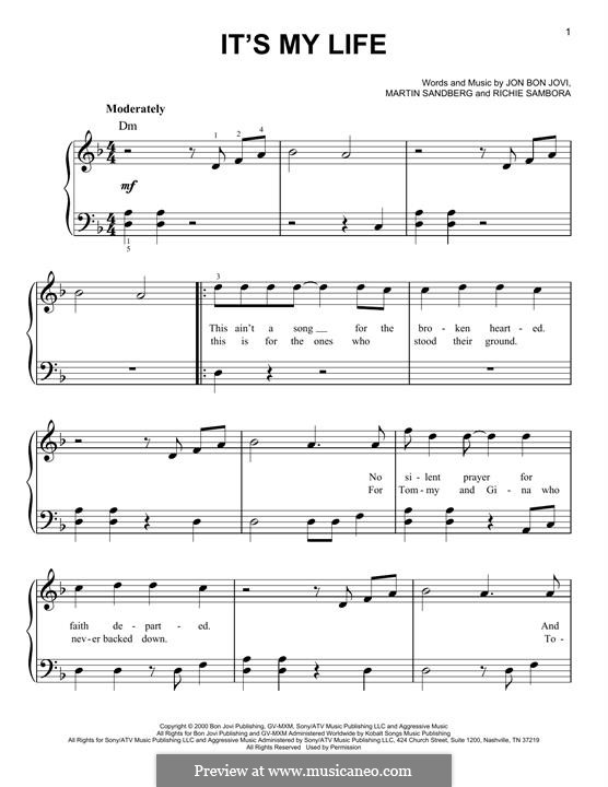 It's My Life (Bon Jovi): Für Klavier by Jon Bon Jovi, Max Martin, Richie Sambora