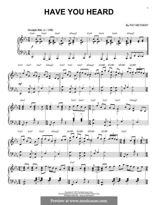 Have You Heard: Für Klavier by Pat Metheny