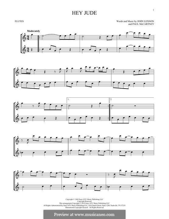 Hey Jude (The Beatles): Für zwei Flöten by John Lennon, Paul McCartney
