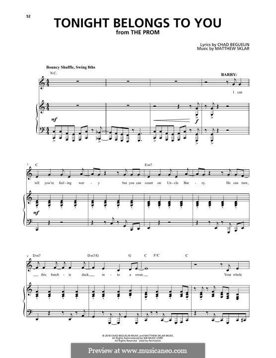 Tonight Belongs To You (from The Prom: A New Musical): Für Stimme und Klavier by Matthew Sklar