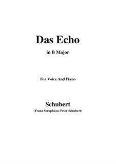 Das Echo, D.868 Op.130: For voice and piano (B Major) by Franz Schubert