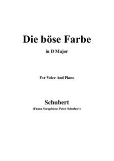 Nr.17 Die böse Farbe: Für Stimme und Klavier (D Major) by Franz Schubert