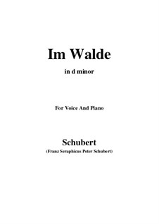 Im Walde, D.834 Op.93 No.1: For voice and piano (d minor) by Franz Schubert