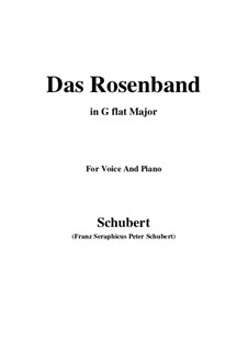 Das Rosenband, D.280: For voice and piano (G flat Major) by Franz Schubert
