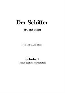 Der Schiffer, D.536 Op.21 No.2: For voice and piano (G flat Major) by Franz Schubert