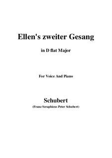 Ellen's Gesang II, D.838 Op.52 No.2: For voice and piano (D flat Major) by Franz Schubert
