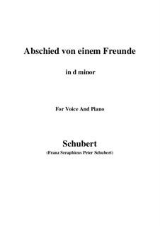 Abschied von einem Freunde, D.578: D minor by Franz Schubert