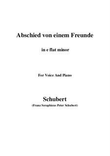Abschied von einem Freunde, D.578: E flat minor by Franz Schubert