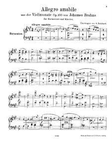 Sonate für Violine und Klavier Nr.2 in A-Dur, Op.100: Teil I. Version für Harmonium und Klavier –  Harmoniumstimme by Johannes Brahms