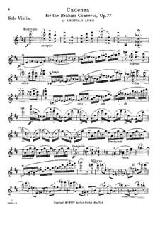 Kadenz zum Violinkonzert in D-Dur von J. Brahms, Op.77: Kadenz zum Violinkonzert in D-Dur von J. Brahms by Leopold Auer