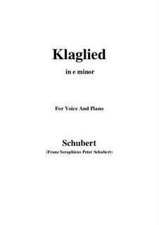 Klaglied, D.23 Op.131 No.3: E minor by Franz Schubert