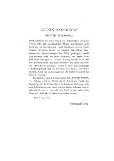 Sinfonie Nr.9 in d-Moll, WAB 109: Bearbeitung für Klavier, vierhändig – Stimmen by Anton Bruckner