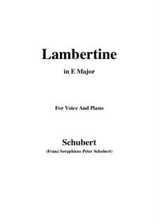 Lambertine, D.301: E Major by Franz Schubert