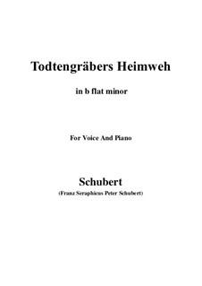 Totengräbers Heimweh, D.842: B flat minor by Franz Schubert