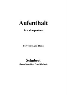 Nr.5 Aufenthalt: For voice and piano (c sharp minor) by Franz Schubert