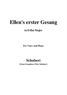 Ellen's Gesang I, D.837 Op.52 No.1: For voice and piano (D flat Major) by Franz Schubert