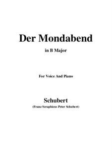 Der Mondabend, D.142 Op.131 No.1: B Major by Franz Schubert