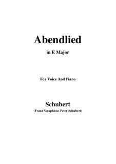 Abendlied, D.382: E Major by Franz Schubert