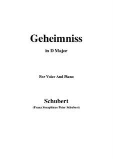 Geheimniss, D.491: D Major by Franz Schubert