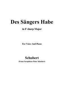 Des Sängers Habe, D.832: F sharp Major by Franz Schubert