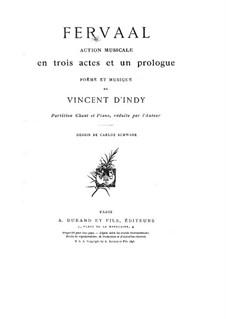 Fervaal, Op.40: Klavierauszug mit Singstimmen by Vincent d' Indy