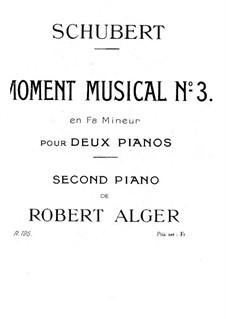 Sechs musikalische Momente, D.780 Op.94: Musikalischer Moment No.3, für zwei Klaviere, vierhändig by Franz Schubert
