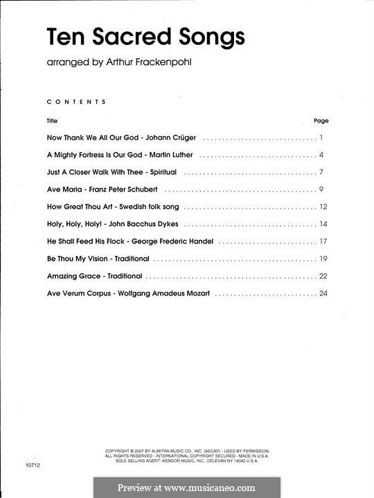 Ten Sacred Songs - Piano Accompaniment: Ten Sacred Songs - Piano Accompaniment by Franz Schubert, folklore, Johann Crüger, Martin Luther, John Bacchus Dykes