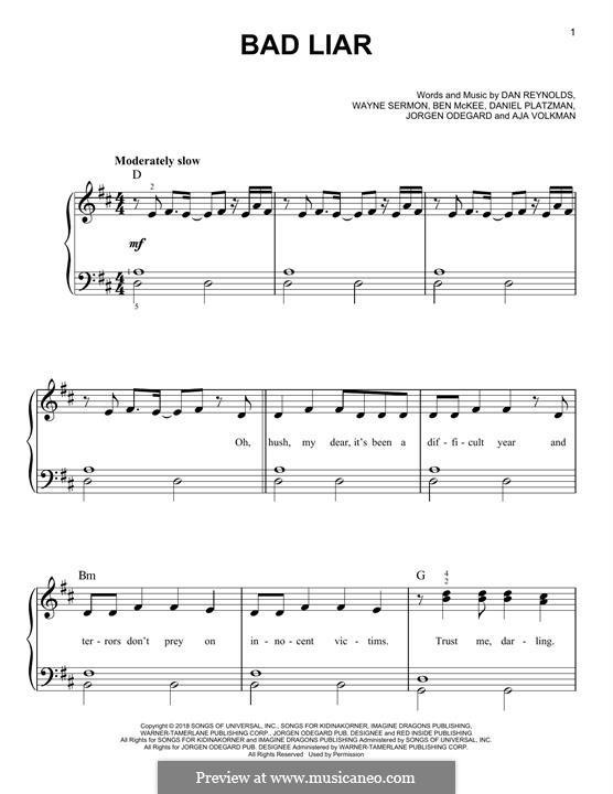 Bad Liar (Imagine Dragons): Für Klavier by Benjamin McKee, Daniel Reynolds, Daniel Platzman, Wayne Sermon