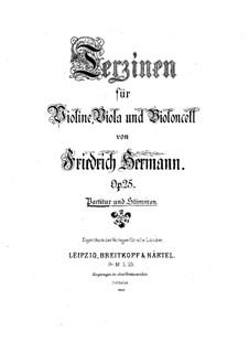 Terzinen für Violine, Bratsche und Cello, Op.25: Vollpartitur by Friedrich Hermann