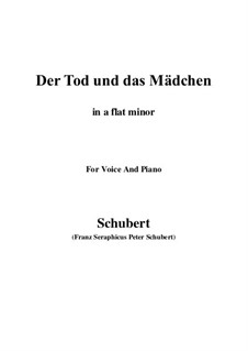 Tod und das Mädchen, D.531 Op.7 No.3: For voice and piano (a flat minor) by Franz Schubert